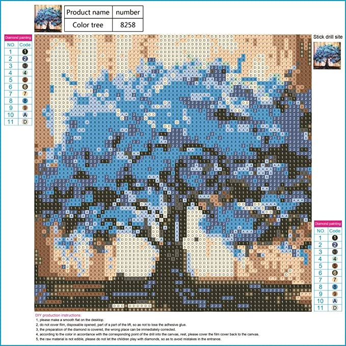 DIY 5D Diamond Painting by Number Kit, LPRTALK Full Drill Diamonds Painting  Blue Tree Rhinestone Embroidery Cross Stitch Supply Arts Craft Canvas Wall