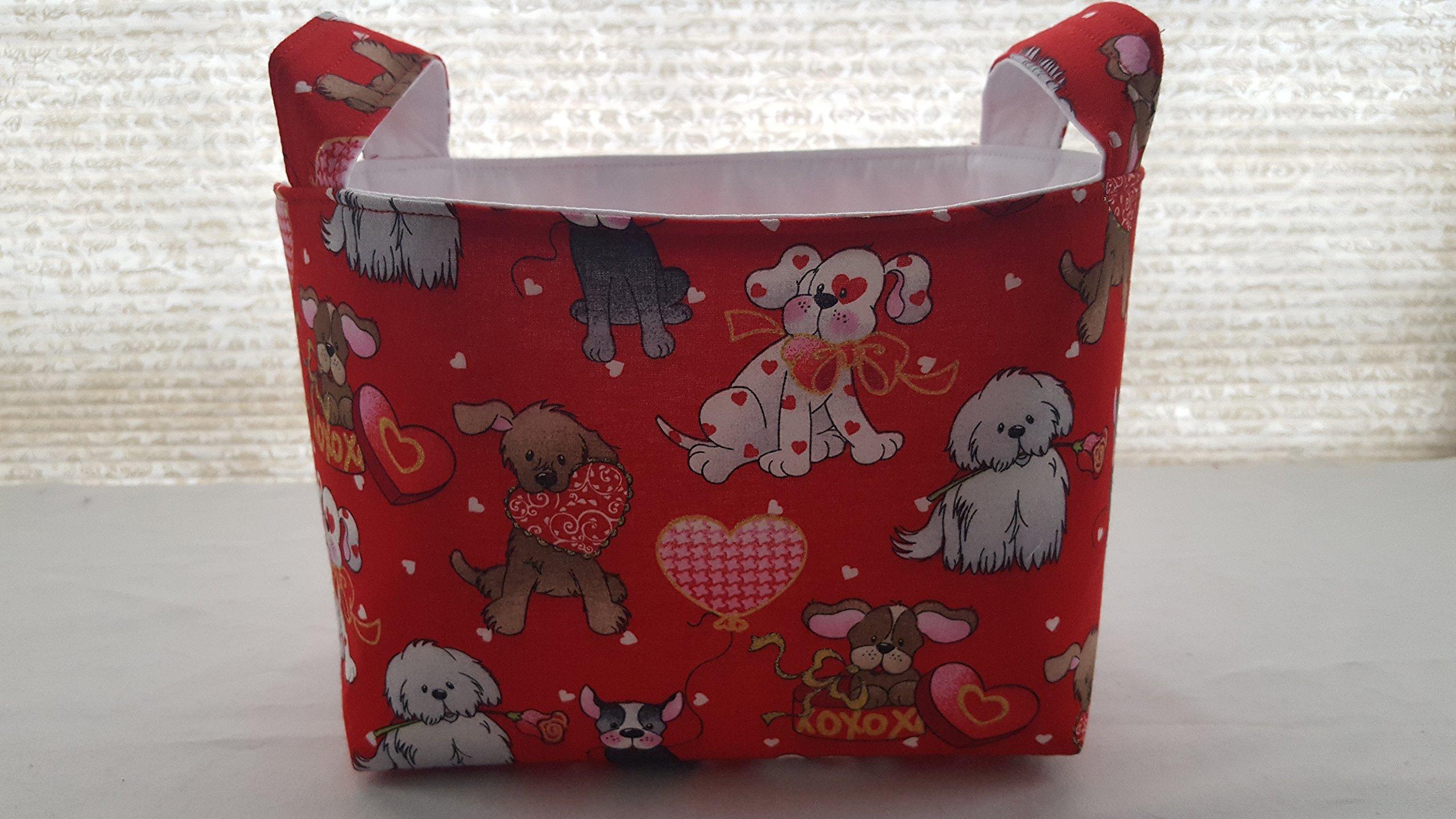 Valentine's Day Fabric Organizer Basket Bin Caddy Storage Container - Valentine Dogs Love and Kisses