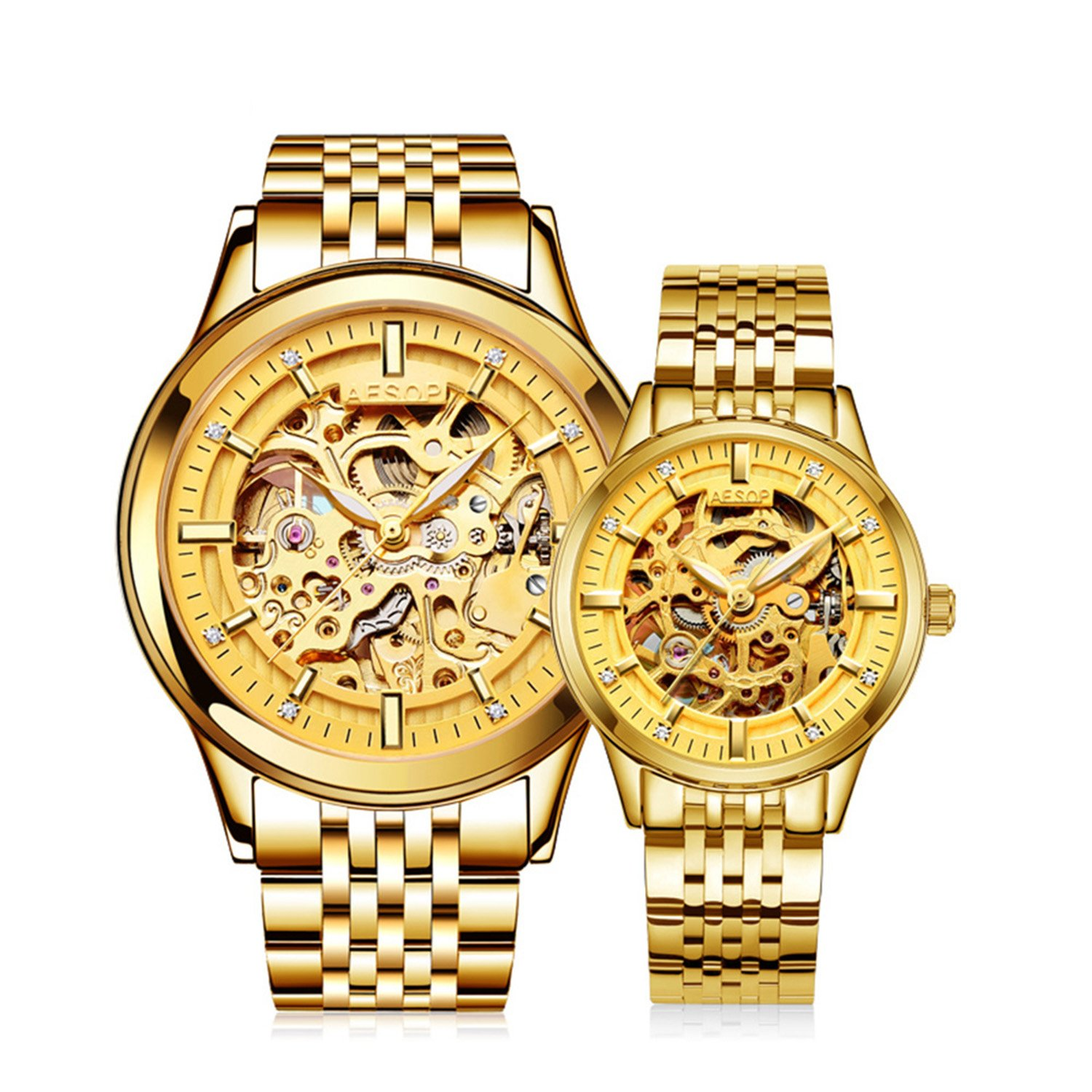 Business Luminous Skeleton Men Women Automatic Mechanical Stainless Steel Waterproof Luxury Lovers Watch (Gold)