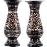 Craft Trade Flower Vase Brass Antique Showpiece Pot Beautiful Home Office Decor Article (Black Set of 2)