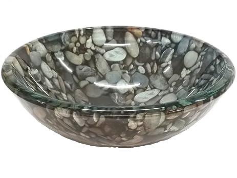 Charmant 14u0026quot; Natural Pebble Pattern Glass Vessel Sink