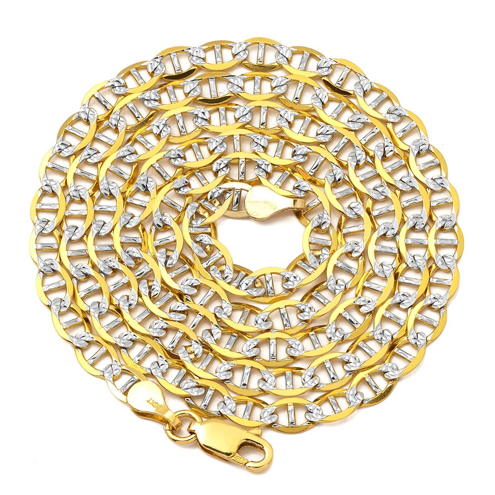 LoveBling 10K Yellow Gold 4mm Solid Pave Two-Tone Mariner Chain Necklace with Lobster Lock (26)