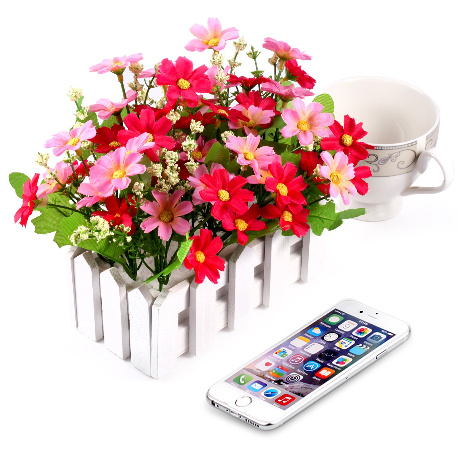 Louis Garden Artificial Flowers Fake Daisy in Picket Fence Pot Pack - Mini Potted Plant (Daisy-Pink) by Louis Garden (Image #3)