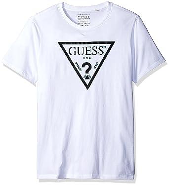 e489a1aacf12 GUESS Men's Double Triangle Logo T-Shirt, True White A000, S: Amazon ...