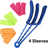 Window Blind Brush Dust Cleaner with 4 Sleeves for Air Conditioner Window Shades Blinds Jalousie Shutter (8 inch Long Arm)