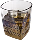 Metallic Whiskey Glasses with Gold Geometric Detailing, 7.5 Ounce - Set of 4