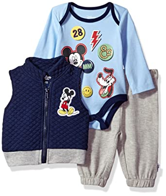 41663a97c Amazon.com  Disney Baby Boys  Mickey Mouse 3 Piece Vest