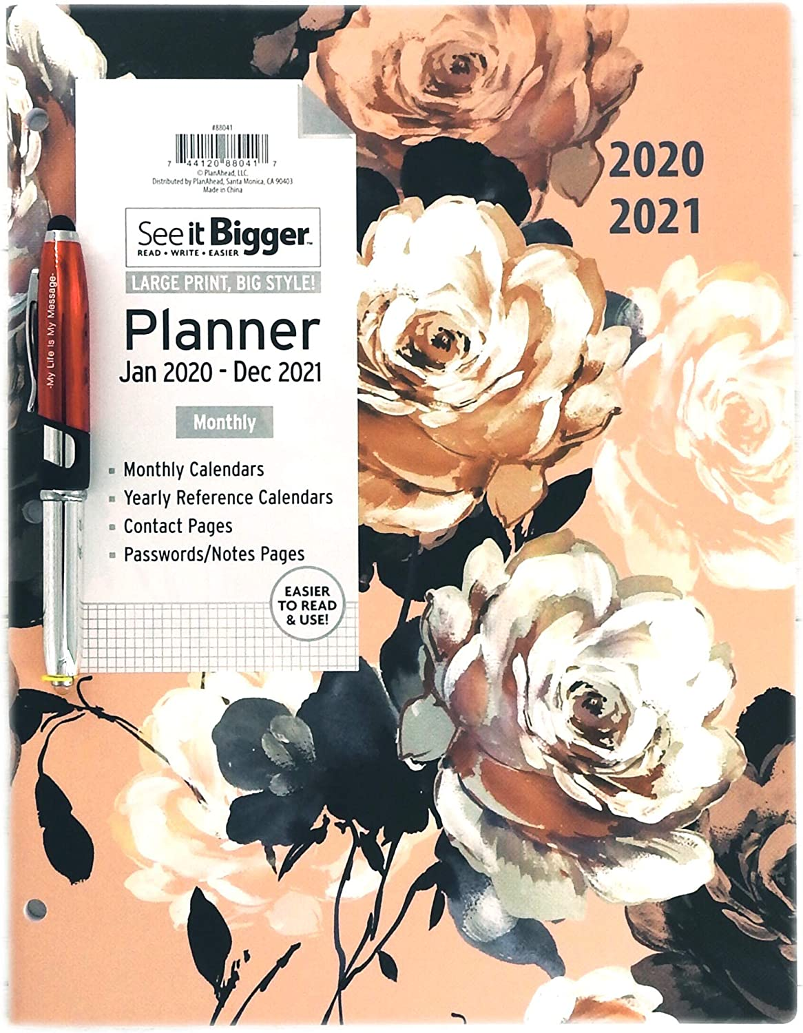 PlanAhead Home/Office 2-Year Monthly Planner, January 2020 - December 2021, 8.5 x 11 Inches and Ultima Stylus Inspirational Pen My Life is My Message. (Floral Coppa)