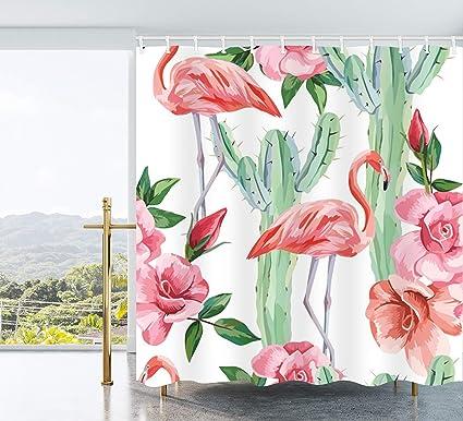Amazon Ao Blare Flamingo Shower Curtain Pink Green