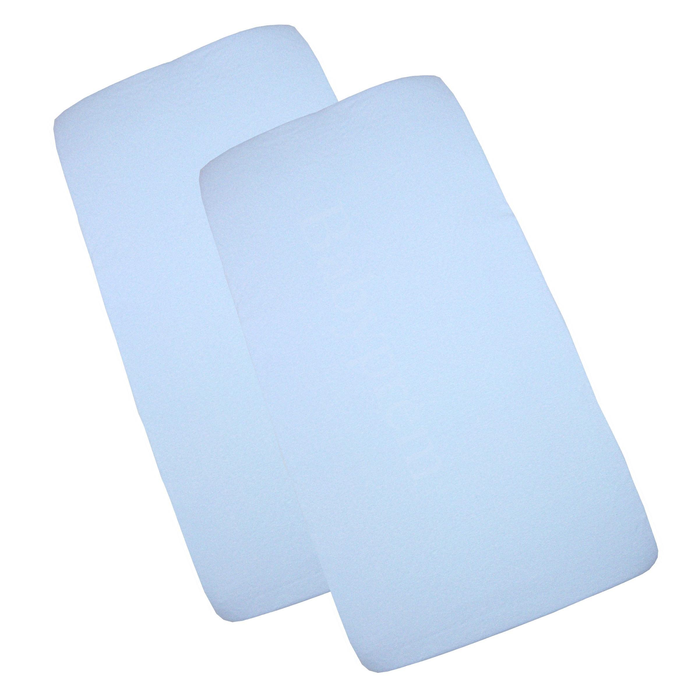 BabyPrem Baby Bedding Fitted Cotton Pram/Cradle Sheets 33 x 17'' Pack of 2 Blue by BabyPrem