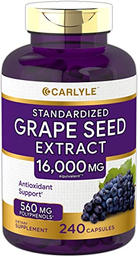 Carlyle Grape Seed Extract 16,000 mg Equivalent 240 Capsules Maximum Strength Standardized Extract Non-GMO, Gluten Free