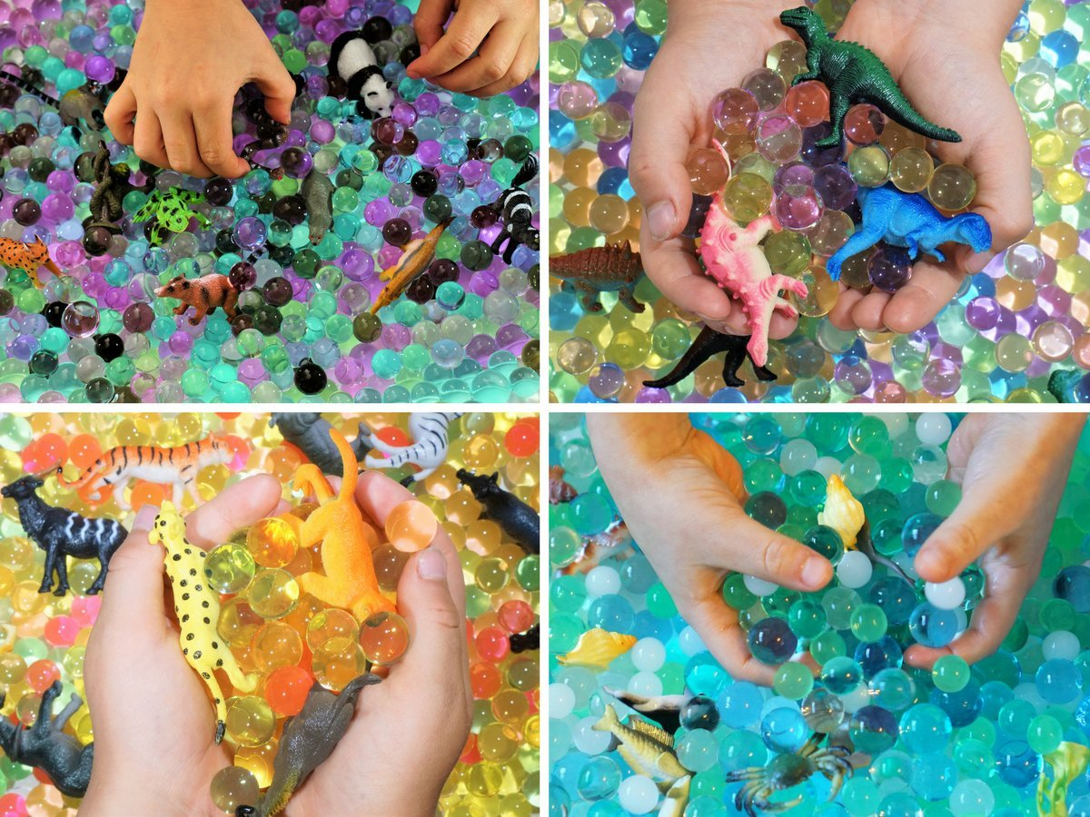Water Beads Sensory Bin Therapy Kits 4 Dew Drop Sets Included Ocean Explorers Jungle Excursion African Safari Dinosaur Discovery.