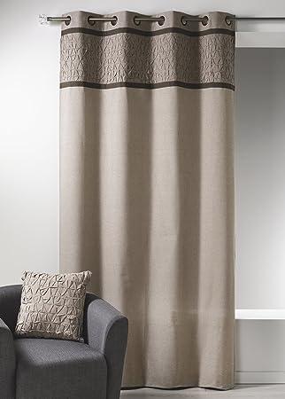 home maison hm6958298 cortinas con plisado de lona de algodn beige cortina de lino 135 x - Cortinas Lino