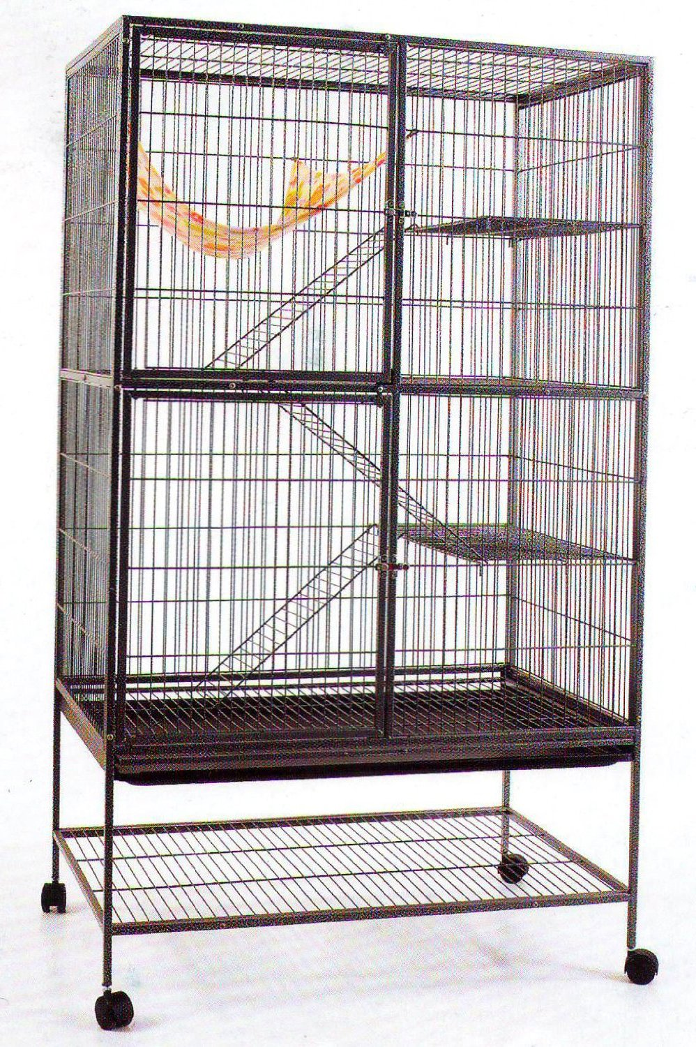 Extra Large 4 Level With Large Double Front Doors For Feisty Ferret Chinchilla Rat Small Animal Wrought Iron Cage With Stand, 1/2 Bar Spacing,Black Vein