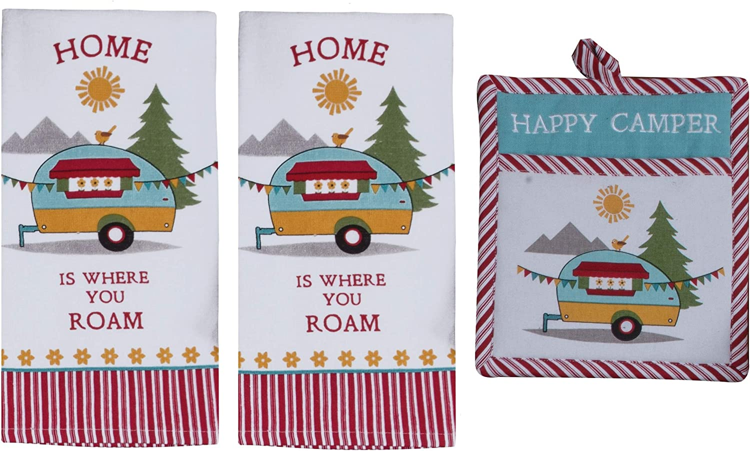 Kay Dee 3 Piece Home is Where You Roam Camping Terry Towels and Potholder Set