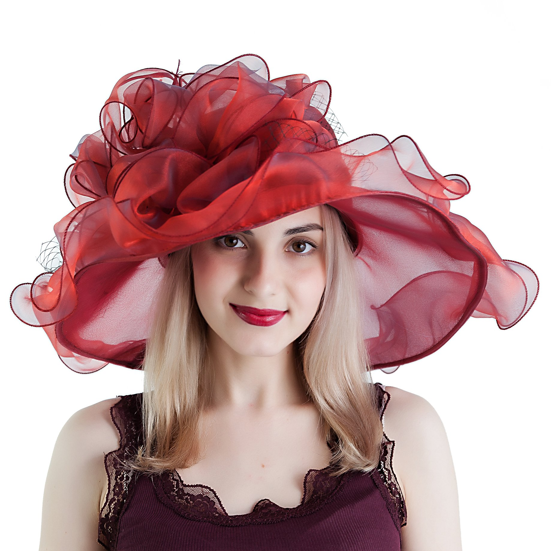 Seven Flowers Kentucky Derby Hats for Women Church Ladies Wedding British Tea Party Hat (12-red) by Seven Flowers (Image #1)