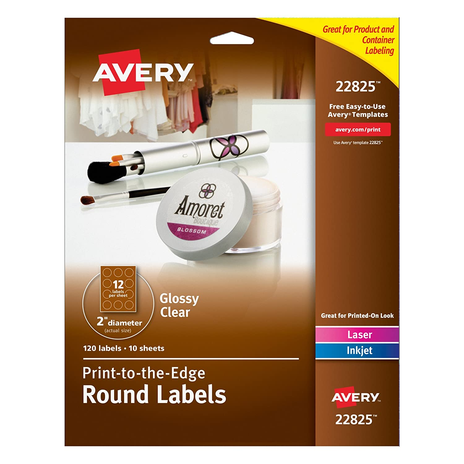 com avery print to the edge round labels glossy com avery print to the edge round labels glossy clear 2 inch diameter 120 labels 22825 all purpose labels office products
