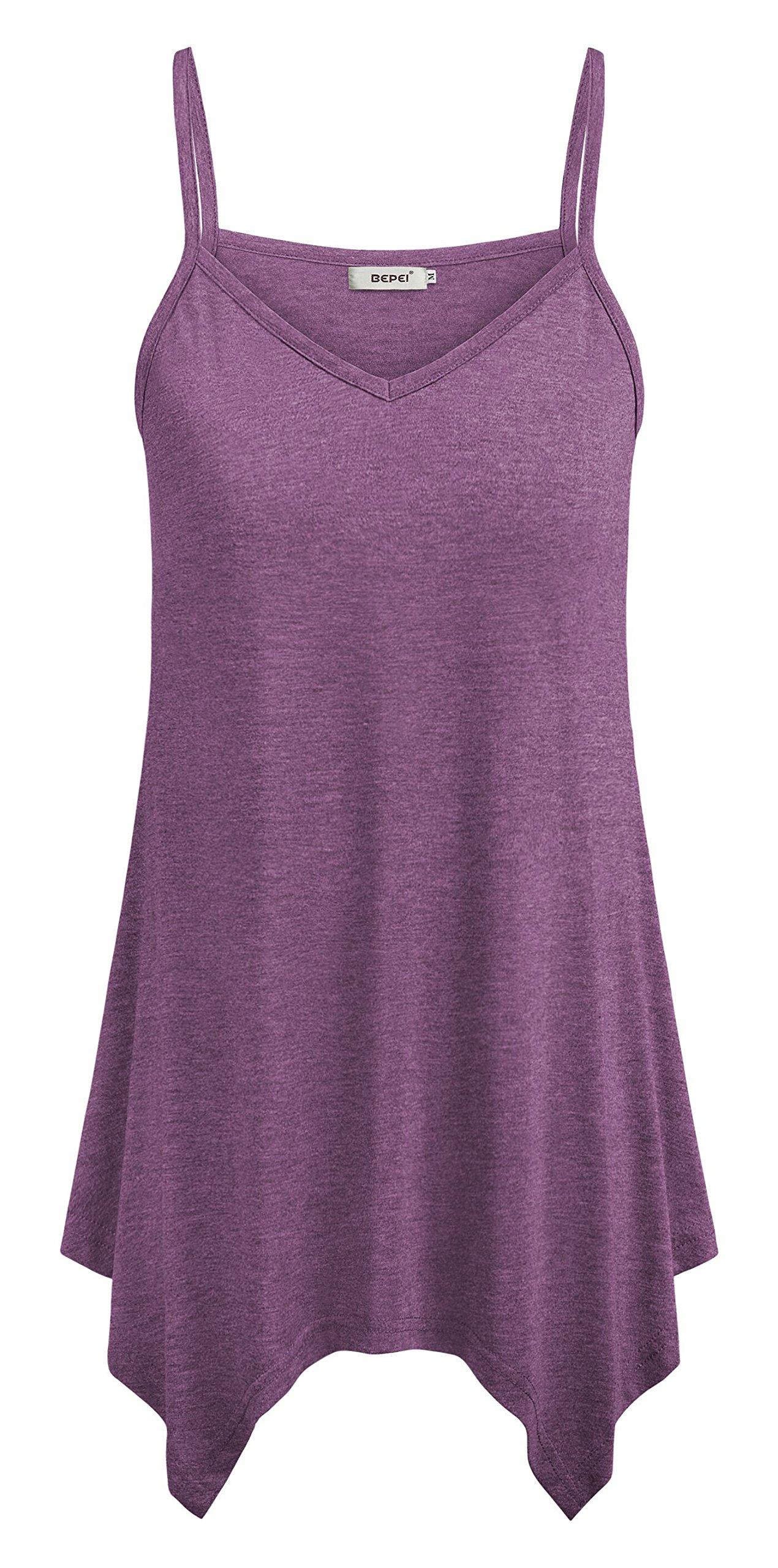 7e47d7ae064 Galleon - BEPEI Lady Tunic Tops For Summer, Loose Comfy A Line Blouses  Knitted Fit And Flare Plus Size Cami Tanks For Women Purple Size 2XL