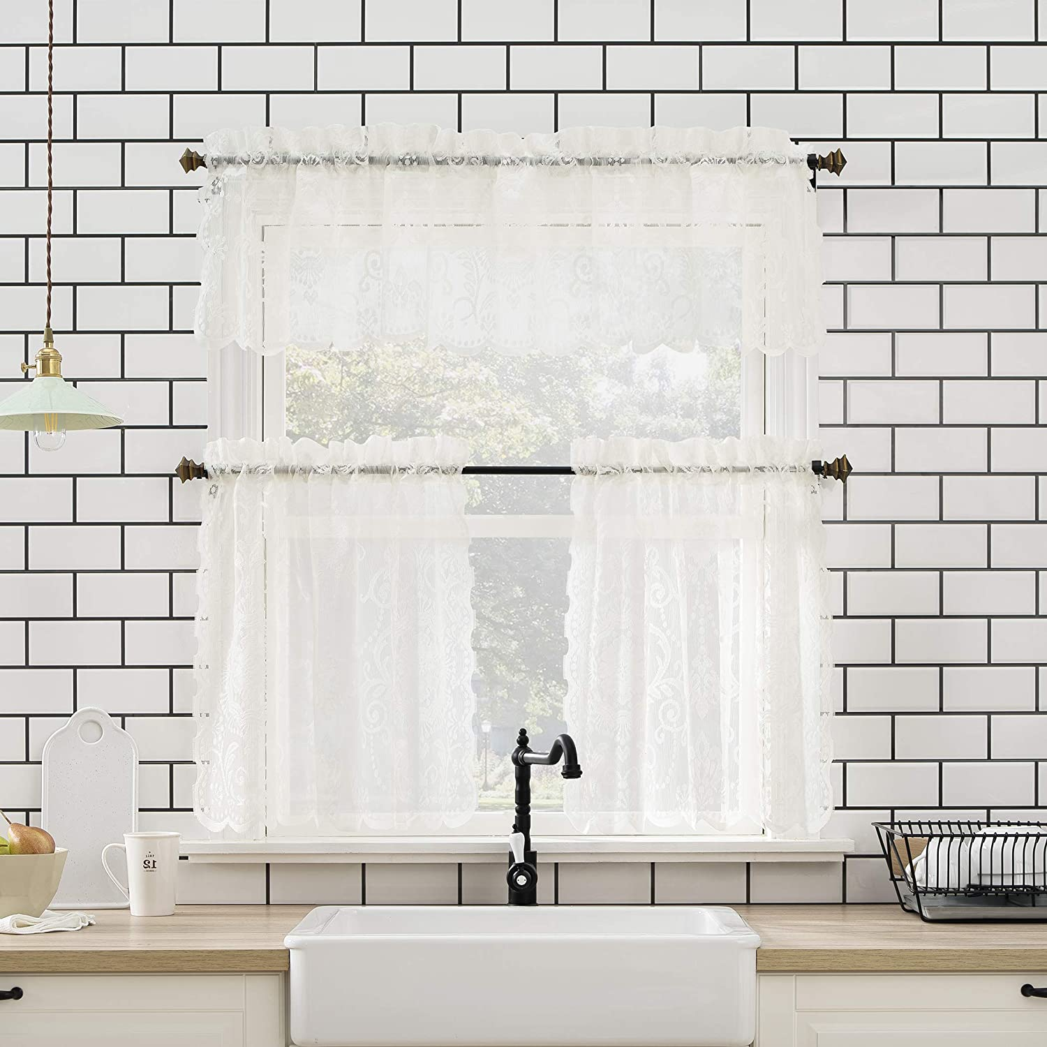No. 918 Ariella Floral Lace Rod Pocket Kitchen Curtain Valance and Tiers Set, 58