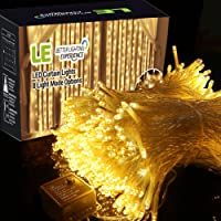 LE Curtain Lights 3x3m 306 LEDs, 8 Modes Window Curtain Icicle Lights String Fairy Lights, Warm White, Valentine's Day Christmas Wedding Party Garden Backdrops Decorative Lights