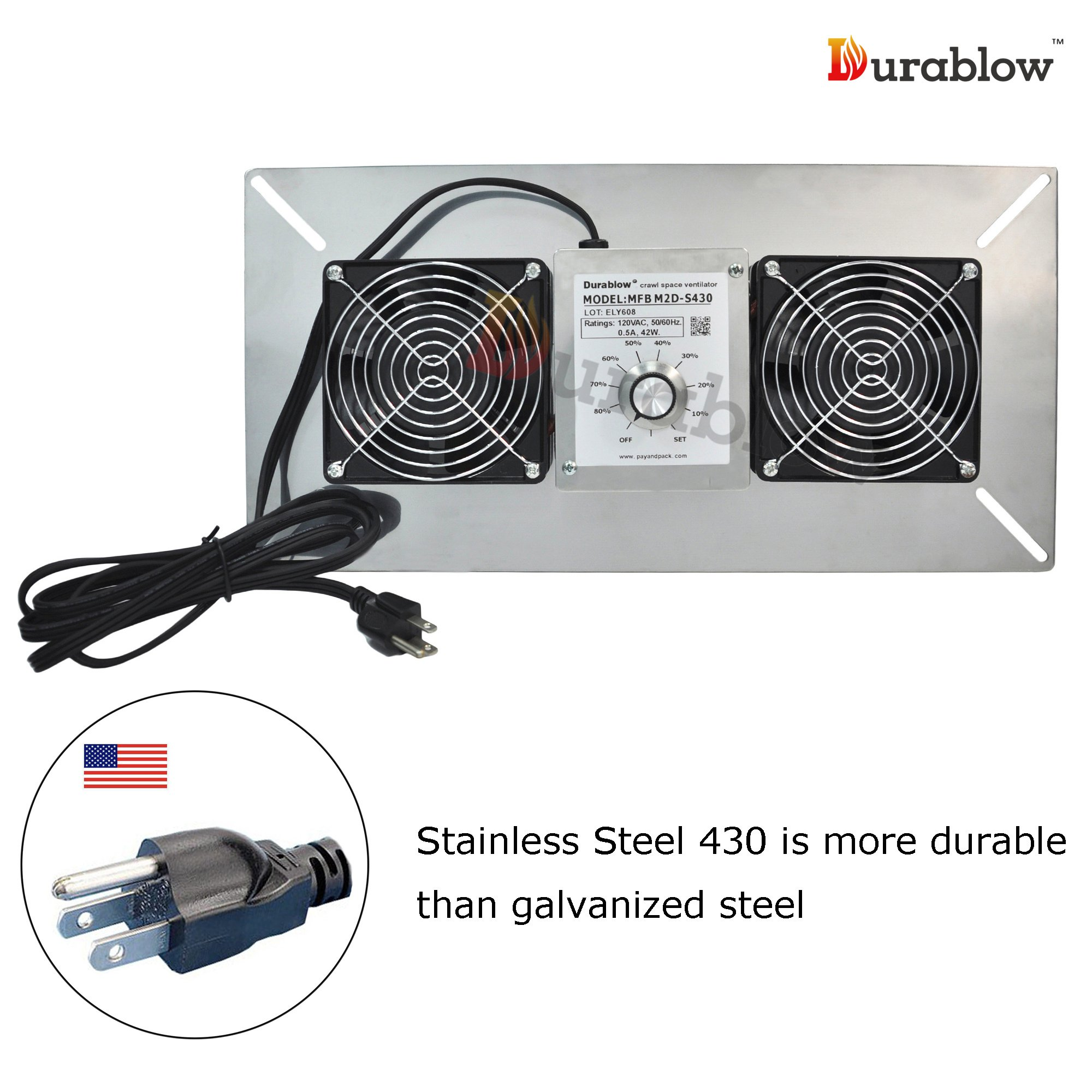 Durablow Stainless Steel 430 Crawl Space Foundation Dual Fans Ventilator + Built-in Dehumidistat, 220 CFM (Model: MFB M2D-S430) by Durablow (Image #1)