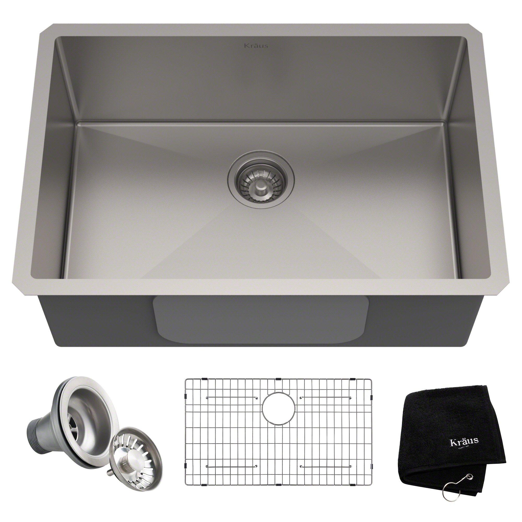 Kraus KHU100-28 Kitchen Sink 28 Inch Stainless Steel