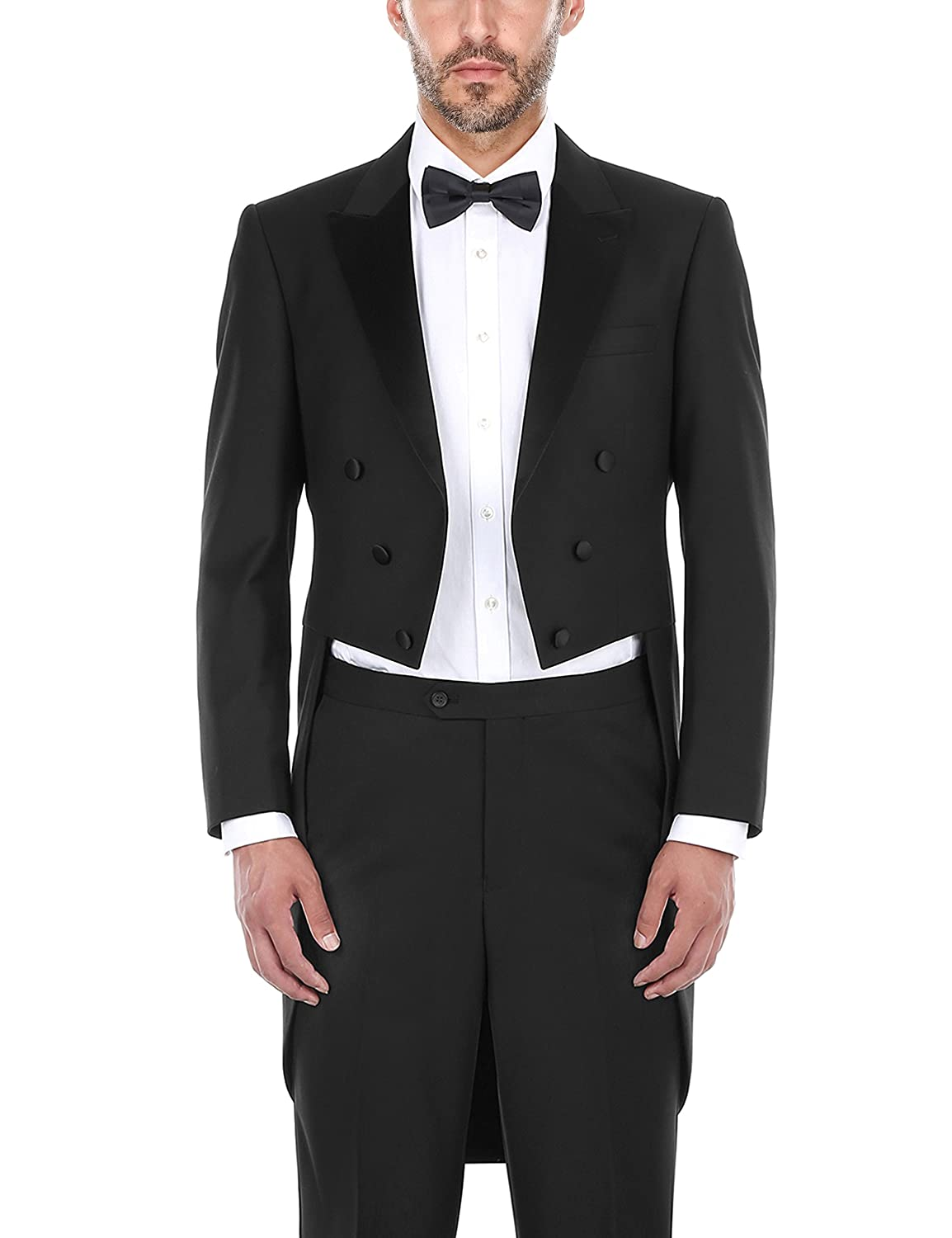 new arrive hot-selling clearance cute cheap Chama 2 Piece Men's Classic Fit Black Tuxedo Tailcoat Tail Coat Suit, Suit  Tuxedo Jacket Blazer, Suit Tuxedo Pants