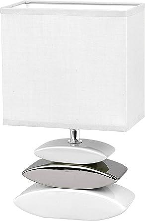 Honsel 53581 - Lámpara de mesa, color blanco y pleatedo, cristal ...