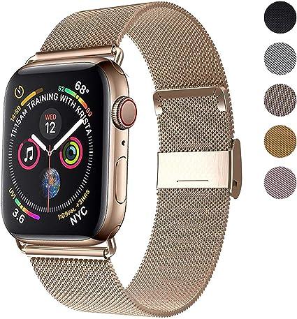Image ofCorrea del Reloj Compatible con Apple Watch de 38mm 40mm 42mm 44mm, Pulsera para Reloj de Reemplazo de Acero Inoxidable con Imán para iWatch Series 5/4/3/2/1