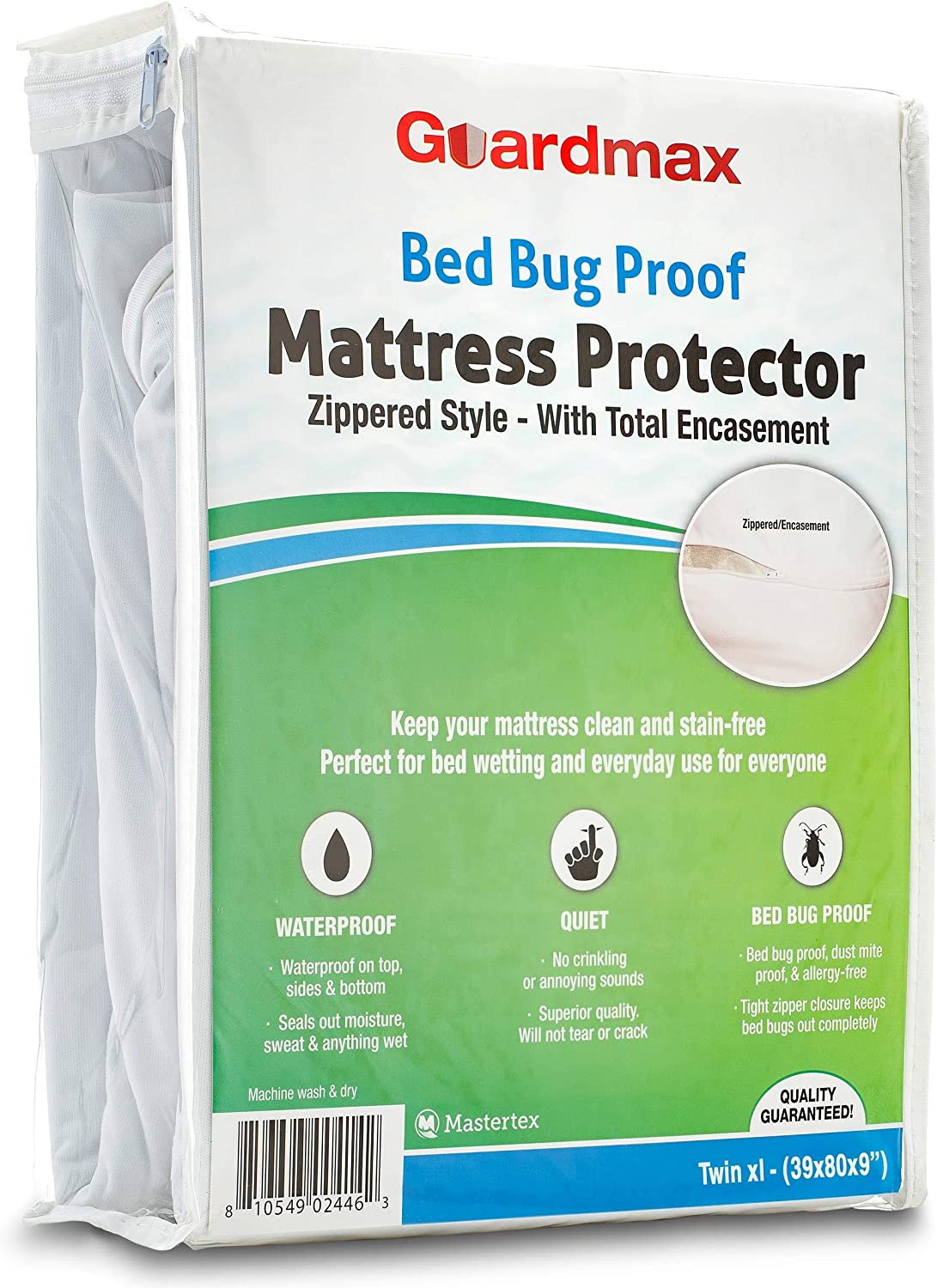 Guardmax Twin Extra Long Mattress Protector Cover Zippered   100% Waterproof Bed Bug Encasement   Soft, Hypoallergenic and Breathable   Twin XL Size (39x80x9)