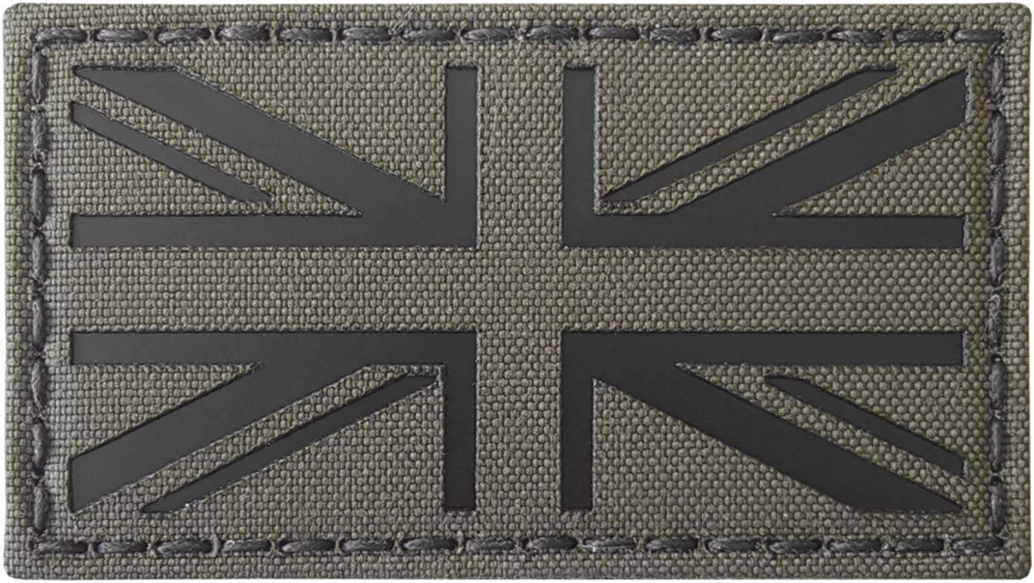 Ranger Green Infrared IR UK Union Jack Flag 3.5x2 IFF Tactical Morale Hook-and-Loop Patch