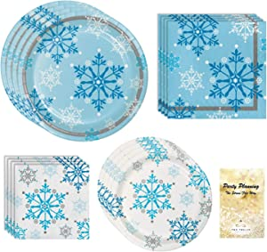 Christmas Holiday Party Supply Pack, Snowflake Swirls Design, 16 Guests, 65 Pieces, Disposable Paper Dinnerware, Plate and Napkin Set