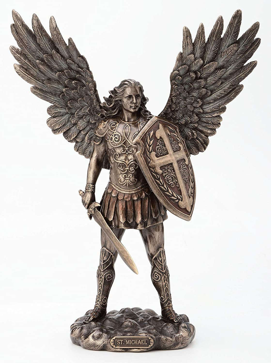 Veronese Design 11 Inch Saint Michael Archangel with Battle Shield and Sword Cold Cast Resin Material Antique Bronze Finish Angel Statue