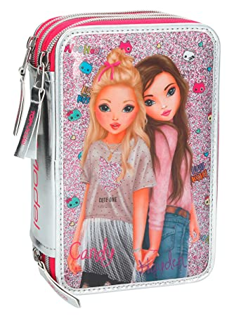 Top Model- Estuche Triple Friends, Color Rosa (008989A)