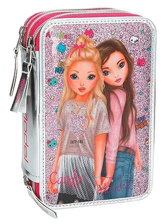 Top Model- Estuche Triple Friends, Color Rosa (008989A)