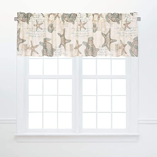 C F Home Amber Sands Valance Nautical Coastal Sea Life Beach Cotton Curtains for Window Living Dinning Bedroom Bathroom Kitchen Valance Tan