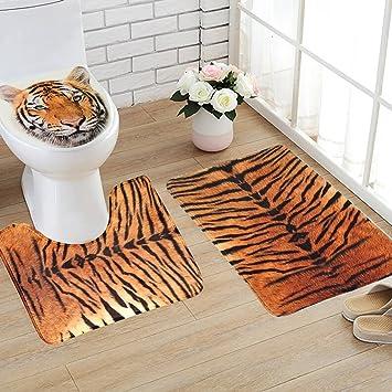 Hughapy Bath Mat Sets 3 Piece Bathroom Rug Sets Tiger Leopard Pattern Toilet  Rug Decorative Bathroom