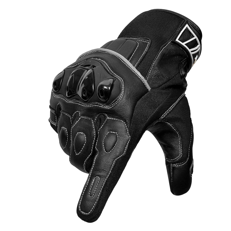 Oro Biker Guantes de Moto Cuero Premium Transpirable Nudillos Protecci/ón pantalla t/áctil Guantes Carreras ATV Guantes Peque/ño, Negro//Azul