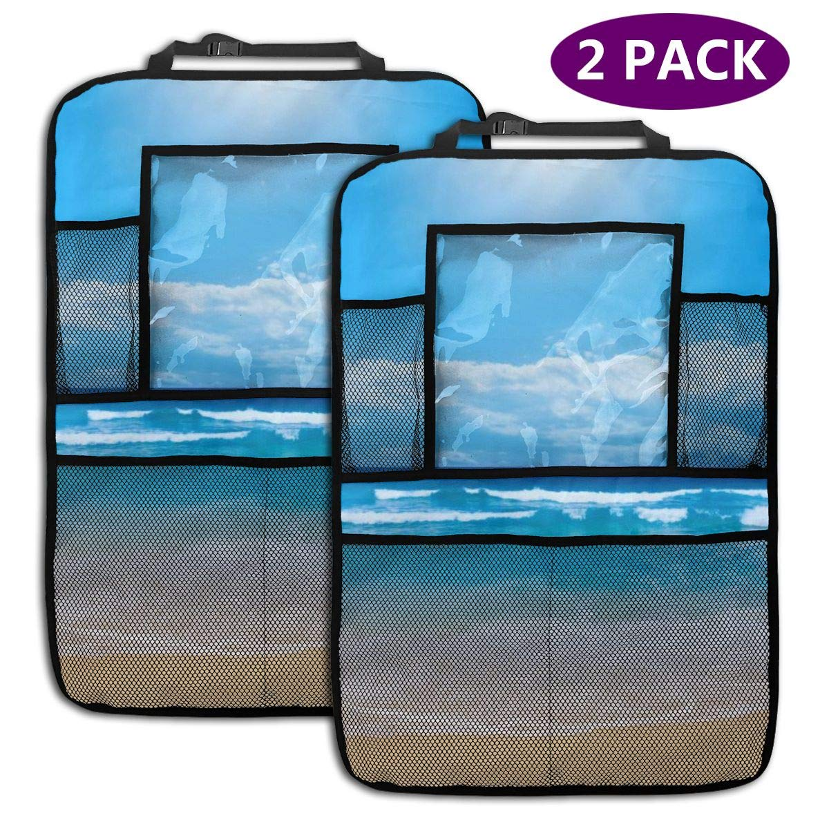 The Beach and The Cloudy Sky 2 Pack Car Seat Organizer Kick Mat Protector Durable Quality Seat Covers Protectors by LZQEEN