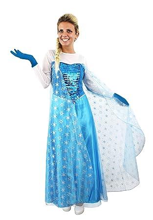 longue robe bleue pour femme ilovefancydress de la reine des neiges avec sa cape aux motifs