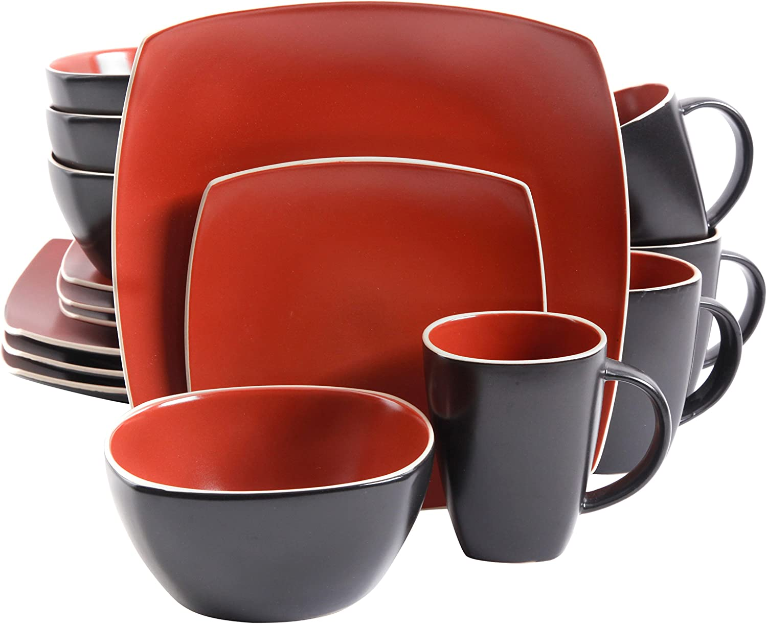 Gibson Overseas, Inc. Gibson Home Soho Lounge Square 16-Piece Dinnerware Set Service of 4, Stoneware, Brick, Dinnware