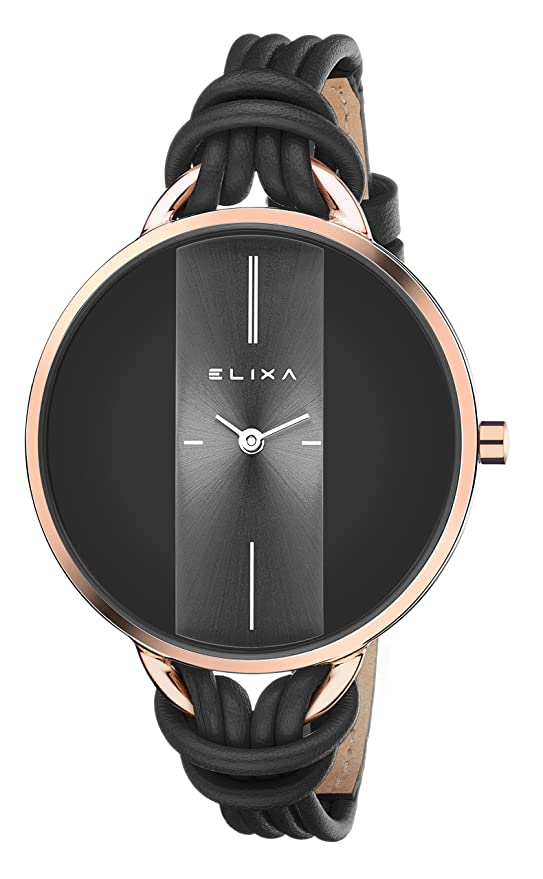 Amazon.com: elixa e096-l371-k1 para mujer, color negro watch ...