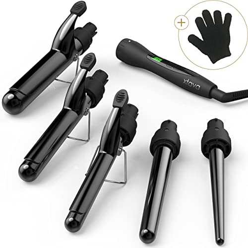xtava Satin Wave 5 in 1 Curling Wand with Temperature Control - Professional Curling Tong Set with Interchangeable Ceramic Tourmaline Barrels - Ceramic Hair Curler Best for Long or Short Hair UK Plug