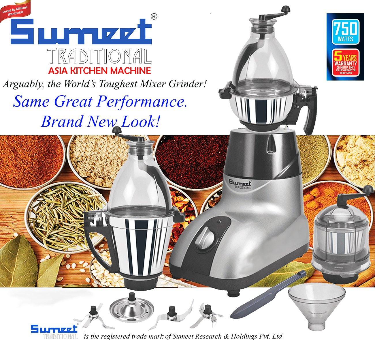 Sumeet tradicional Asia cocina máquina 110 V mezclador Grinder Plata: Amazon.es: Hogar