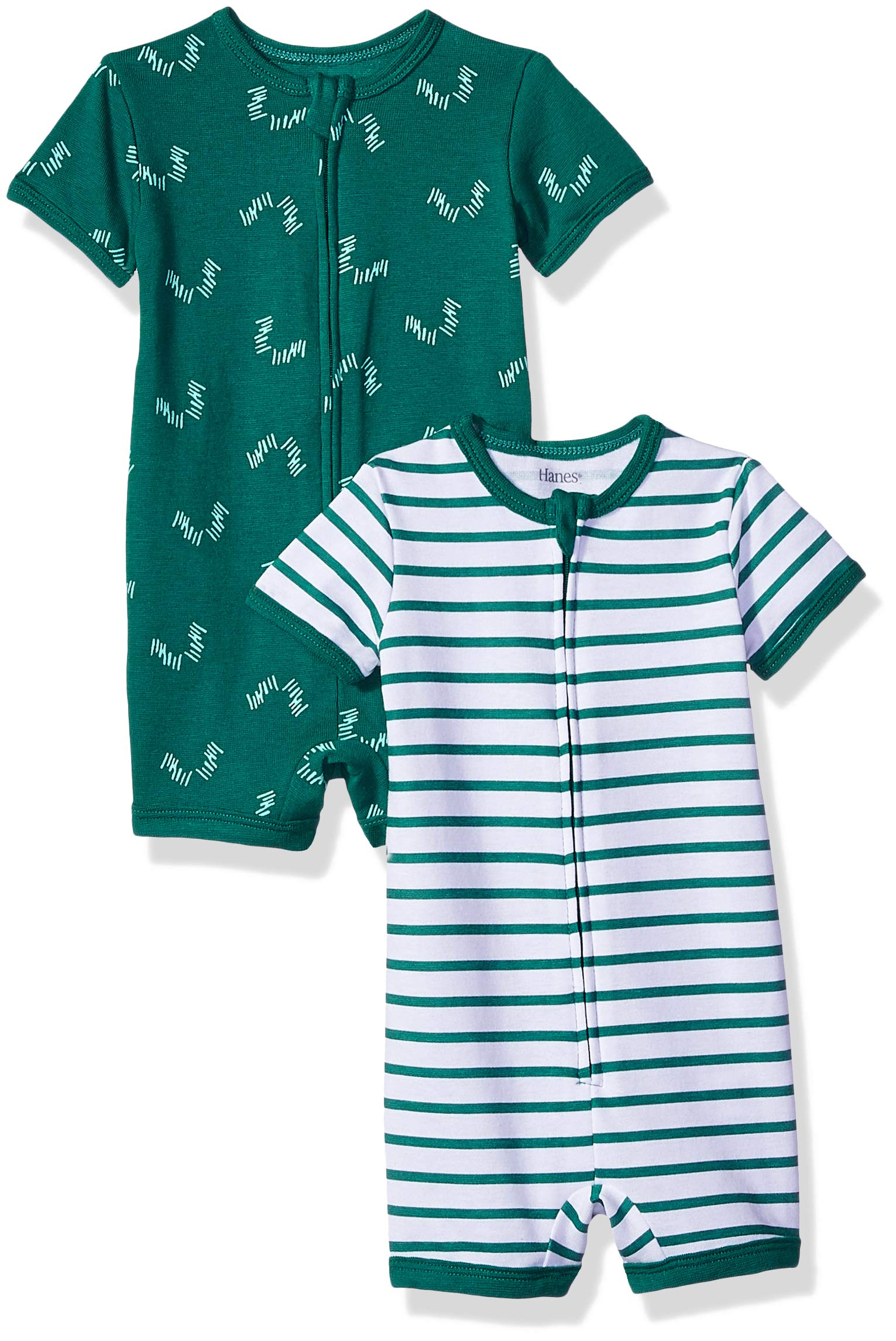 Hanes Ultimate Baby Zippin 2 Pack Rompers, Green Stripes, 6-12 Months by Hanes