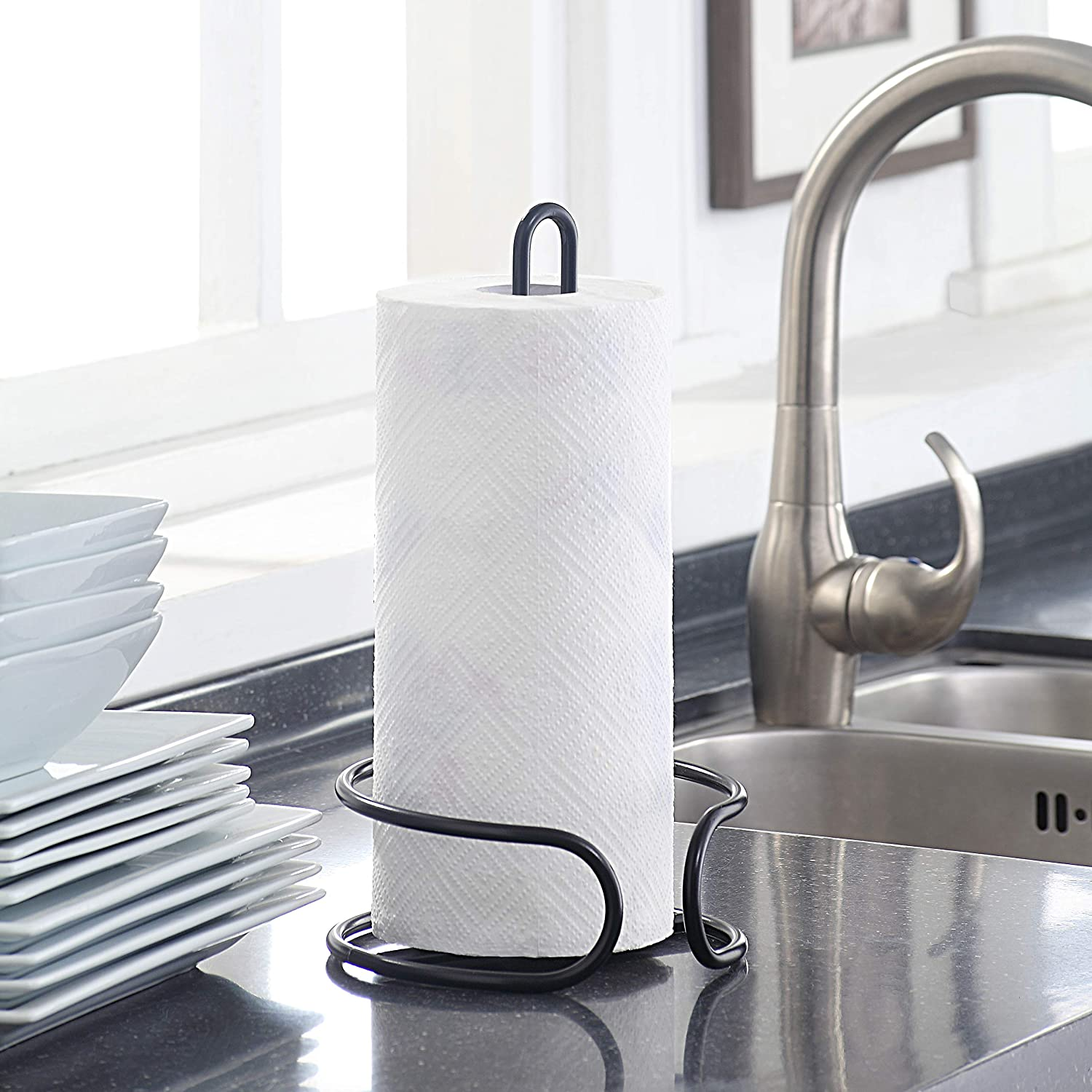 BBQ CHROME Outdoor Picnic Paper Towel Holder; Heavy Enough To Tear By Single Hand SunnyPoint Classic Heavy Wire Gauge Kitchen