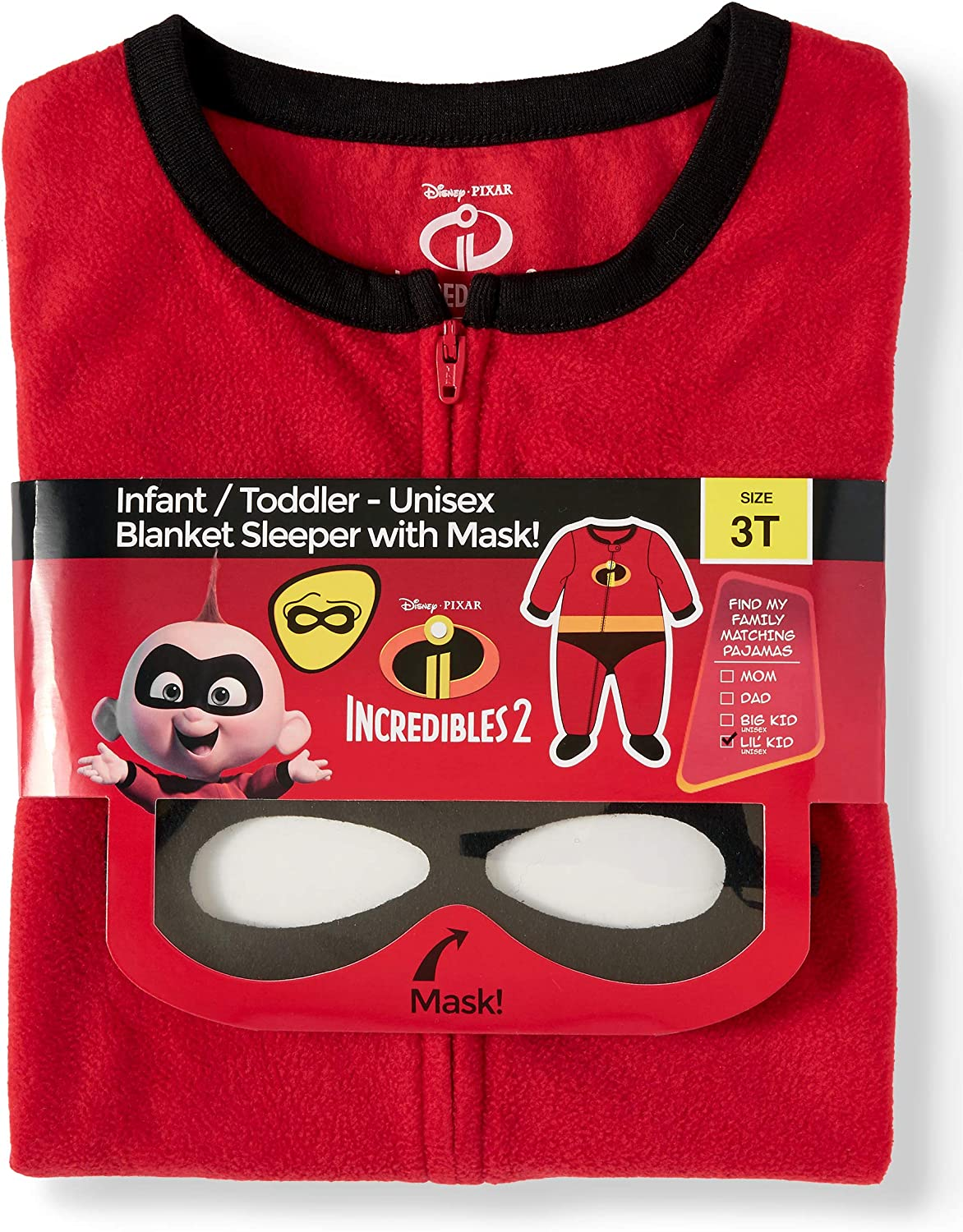 Incredibles Infant Toddler Blanket Sleeper With Mask Size 4T New Free Shipping
