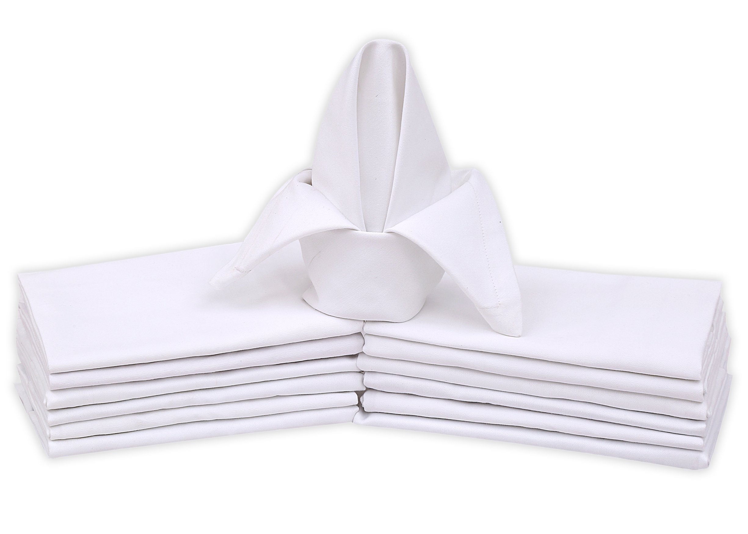 Ruvanti Cotton Dinner Napkins 12 Pack, Cloth Napkins Soft and Comfortable - Deluxe Hotel Quality Linen Napkins - Perfect Table Napkins for Family Dinners, Weddings and Home Use. (White)