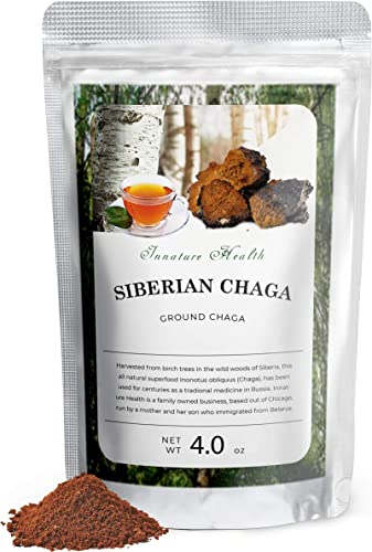 Premium Wild Chaga Mushrooms, Raw Organic Chaga Powder, 100 Natural Wild Harvested Chaga Mushroom in Siberian Forests, Healthy Immune System Supporter – Antioxidant Tea Supplement – 4.0 oz