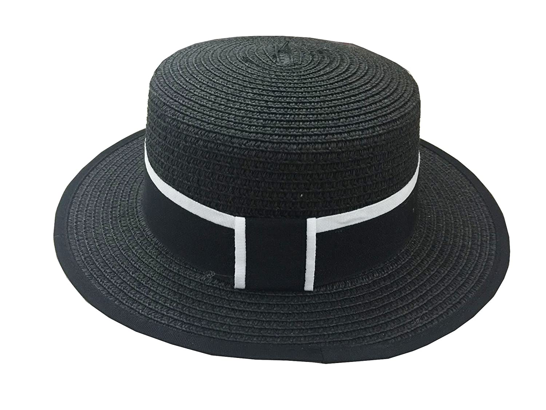 YL Womens Straw Weave Bowtie Porkpie Jazz Hat Black